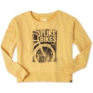 LIFE IS GOOD I Like Bikes Gold Crew Sweatshirt XL
